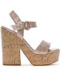 Albano - Chemba Rose Gold Metallic Platform Sandals - Lyst
