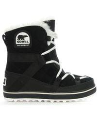 Sorel - Glacy Black Suede Explorer Shortie Boots - Lyst