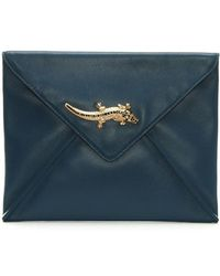 Class Roberto Cavalli - Mademoiselle Blue Leather Envelope Clutch Bag - Lyst