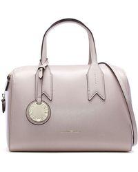 Emporio Armani - Frida Pink Textured Top Handle Bowling Bag - Lyst
