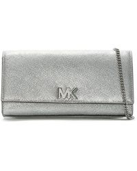 Michael Kors - Mott Silver Leather Clutch Bag - Lyst