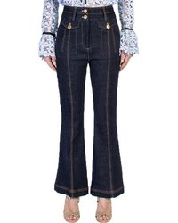 Self-Portrait - Flared Stretch Cotton Jeans - Lyst