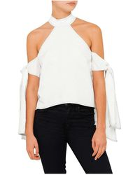 Shakuhachi - Contrast Stitching Tie Sleeve Top - Lyst