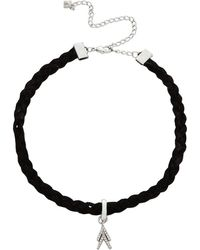 Rebecca Minkoff - Pave Chevron Charm On Braided Leather Choker - Lyst