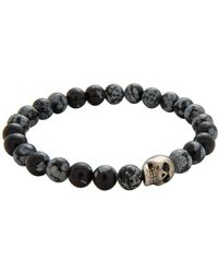 Simon Carter - Snowflake Obsidian Bead Bracelet With Skull - Lyst