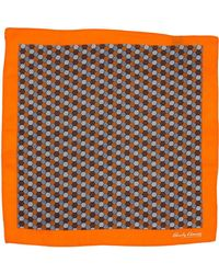 Hardy Amies - Orange Hexagon Geo Pocket Square - Lyst