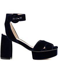 Stuart Weitzman - Carmina Velvet Platform Sandal - Lyst