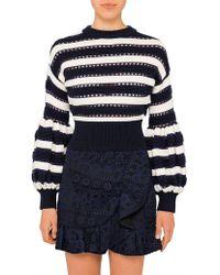 Self-Portrait - Striped Balloon Sleeve Knit - Lyst