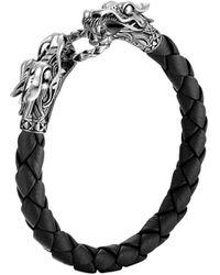 John Hardy - Legends Naga Silver Black Woven Leather Dragon Bracelet - Lyst