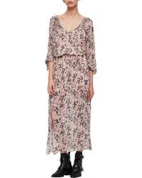 AllSaints - Chesca Petal Long Dress - Lyst