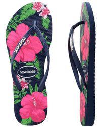 Havaianas - Slim Floral Navy Blue - Lyst