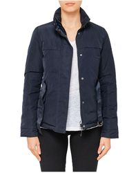 Armani Jeans - Short Quilted Jacket With Waist Tie - Lyst