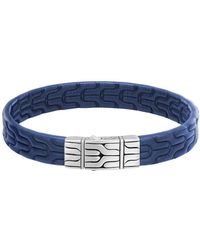 John Hardy - Classic Chain Silver Embossed Leather Bracelet - Lyst