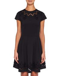 Ted Baker - Cheskka Lace And Mesh Skater Dress - Lyst