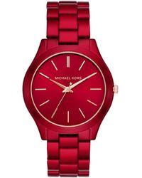 Michael Kors - Women's Slim Runway Three-hand Red-coated Stainless Steel Watch - Lyst