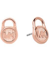 Michael Kors - Logo Stainless Steel Padlock Earrings - Lyst