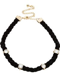 Rebecca Minkoff | Multi Stone Charms On Braided Leather Choker | Lyst