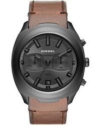 DIESEL - Chronograph Tumbler Brown Leather Strap Watch 48mm - Lyst
