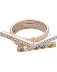 Rebecca Minkoff - Tri-color Bar Stackable Rings - Lyst