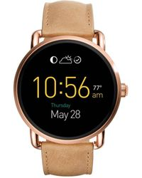 Fossil - Q Wander Touchscreen Light Brown Leather Smartwatch - Lyst