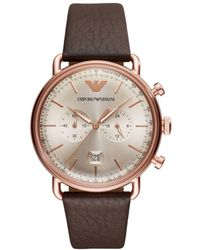 Emporio Armani - Men`s Brown Chronograph Dress Watch - Lyst
