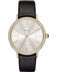 DKNY - Willoughby Black Leather And Stainless Steel Watch - Lyst