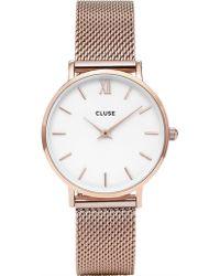 Cluse - Minuit Mesh Rose Gold-white - Lyst