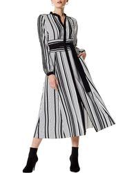Karen Millen - Graphic Stripe Midi Dress - Lyst
