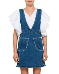 4c63db6abbff See By Chloé - Stone Washed Patch Denim Pinafore - Lyst