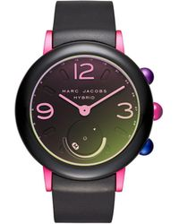 Marc By Marc Jacobs - Riley Pink Ip And Black Rubber Hybrid Smartwatch - Lyst