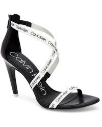 Calvin Klein - Gennovah Logo Webbing Cow Silk White/blk - Lyst