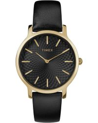 Timex - Skyline 34mm Gld Blk Lthr - Lyst