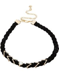Rebecca Minkoff - Arrows And Stone Charms On Braided Leather Choker - Lyst