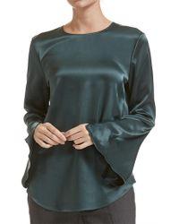 c393492fade43e Theory Tie Cuff Silk-crepe Shirt in Green - Lyst