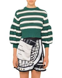 Self-Portrait - Striped Cropped Sleeve Knit - Lyst