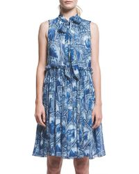 Karen Walker - Runaway Stamps Crinkle Georgette Express Dress - Lyst