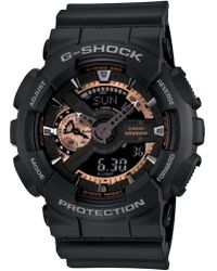 G-Shock - Xl Ana-digi Rose Gold Series Black Resin Strap Watch - Lyst
