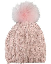 Morgan Taylor - Pink Chenille Knit Beanie With Fur Pompom - Lyst