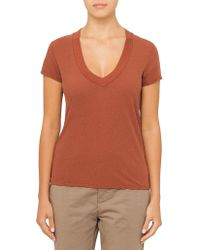 James Perse - V Neck Seamed Tee - Lyst