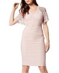 Karen Millen - Lace Sleeve Dress - Lyst