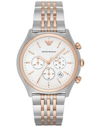 Emporio Armani - Zeta Two Tone Silver/rose Stainless Steel Watch - Lyst