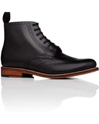 Grenson - Alfred Lace Up Boot W/ Brogue Detail And Welted Leather Sole - Lyst