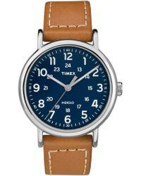 Timex - Weekender 40mm Slv Tan Lthr - Lyst