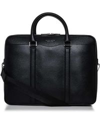 BOSS - Signature Embossed Leather Single Zip Briefcase - Lyst