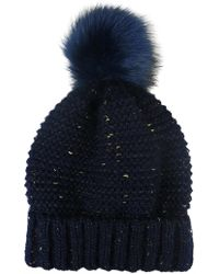 Morgan Taylor - Knit Beanie With Fleck Of Gold And Fur Pompom - Lyst