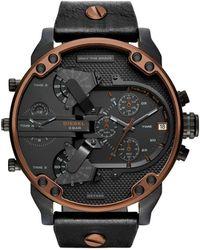 DIESEL - Men's Chronograph Mr. Daddy 2.0 Black Leather Strap Watch 57x66mm Dz7400 - Lyst