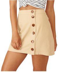 MINKPINK - Neutral Buttoned Mini Skirt - Lyst