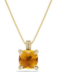 David Yurman - Châtelaine® Pendant Necklace With Citrine And Diamonds In 18k Gold, 11mm - Lyst