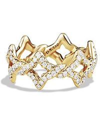 David Yurman | Venetian Quatrefoil Ring With Diamonds In 18k Gold | Lyst