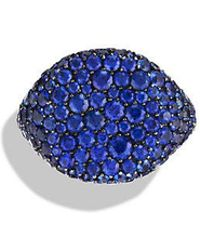 David Yurman - Pavé Pinky Ring With Sapphires In 18k White Gold - Lyst